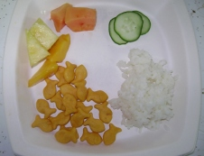 "A Taste of SE Asia: rice & ""fish,"" papaya, mango, pineapple and cucumbers"